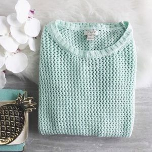 J. Crew open knit mint beach sweater pullover